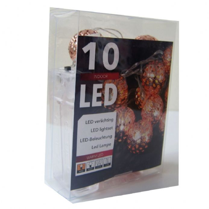 LED Copper Metal Ball String Lights  - 10